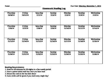 Homework Reading Incentive Chart