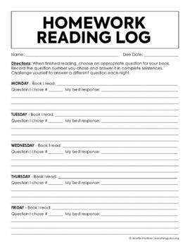 Reading Response Homework Reading Log