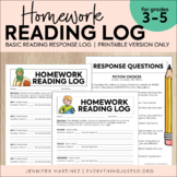Reading Log | Homework Reading Log | Reading Response Log