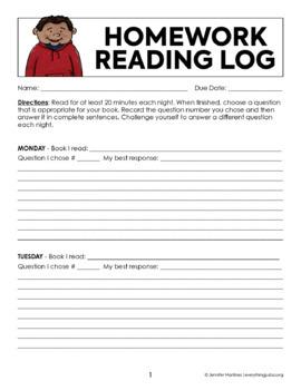 Reading Log | Homework Reading Log | Reading Response Log