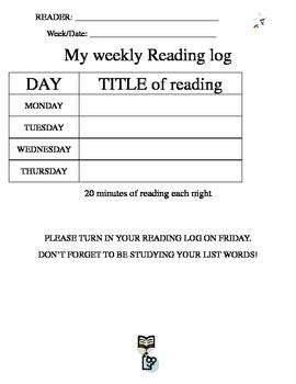 Homework Reading Log