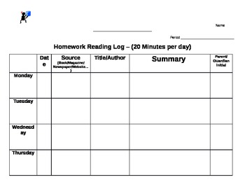 Homework Reading Log