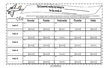Homework Reading Log 11x17