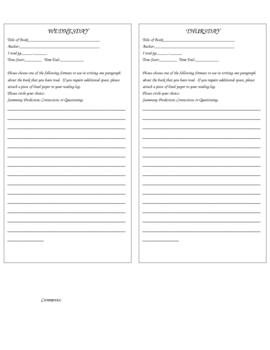 Homework Reading Log Grades4-7