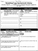 Homework Reading Log Menus - Students Interact with the Fiction Text