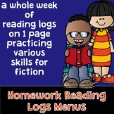 Homework Reading Log Menus - Students Interact with the Fi