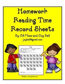 Homework Reading Time Record Sheets