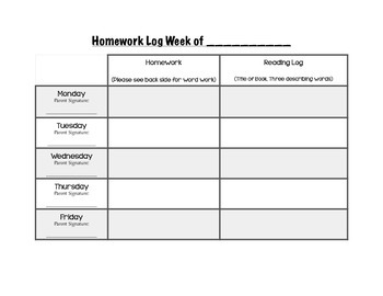 Homework, Reading, and Sight Word Log