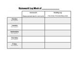 Homework, Reading, and Sight Word Log