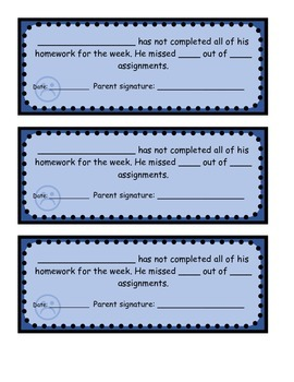 Homework Records to be Signed by Parents
