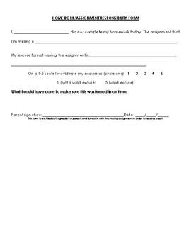Homework Responsibility Form