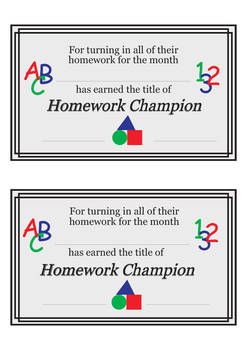 Homework Reward-Champion