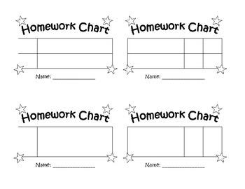 Homework Reward Sticker Chart