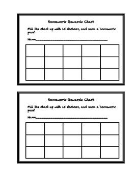Homework Rewards Chart