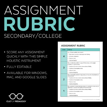 Assignment Rubric: Secondary/College Level