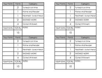 Homework Rubrics for Math & Reading Logs
