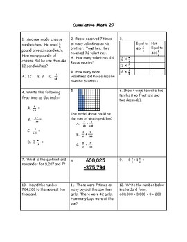Homework Sample - Grade 4 Math