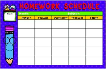 Homework Schedule
