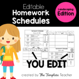 Homework Schedule Templates - Editable for every Month LANDSCAPE Edition