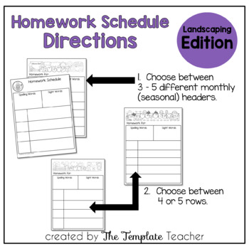 Homework Schedule Templates - Editable for every Month PORTRAIT Edition