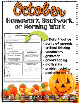 Homework, Seat Work, or Morning Work for October