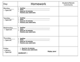 Homework Sheet- Editable