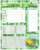 Homework Sheet Template Middle School - Green 1B5 Book Size