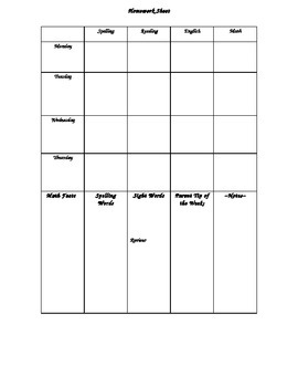 Homework Sheet Templates