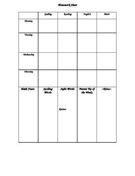 Homework Sheet Templates
