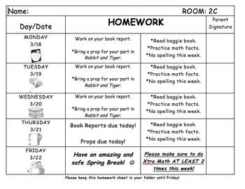 Homework Sheet for Students