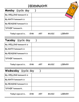 Homework Sheets - Cycle Days