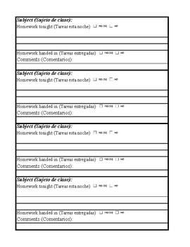 Homework Sheets: English / Spanish