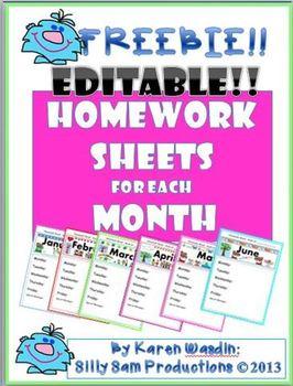 Homework Sheets for each Month EDITABLE