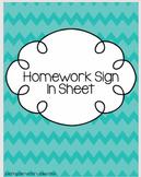 Homework Sign In