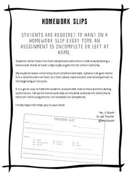Homework Slips for Classroom Management
