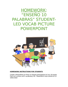 Homework Sp1-Sp5 - Enseño 10 palabras: Student-Led Vocab Pictorial PowerPoint