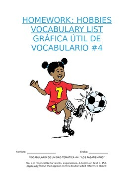 Homework Sp1 - Unit 4 Vocabulary: Three Column List for Hobby Words