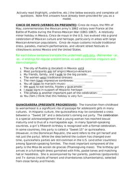 Homework Sp1 or Sp2 - Tres Fiestas: Present, Progressive, Adjectives