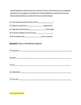 Homework Sp3, Sp4, Sp5 - Por y para: Explicación clara con 35 ejercicios