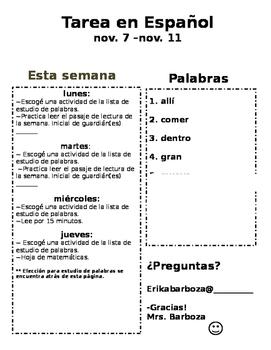 Homework  [Spanish]