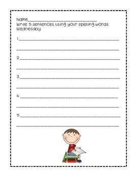 Homework Spelling Packet 15 words