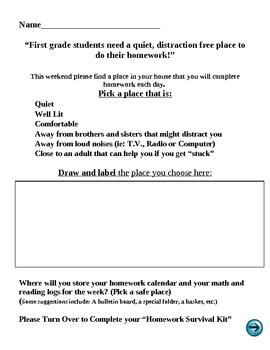 Homework Spot Letter/Activity