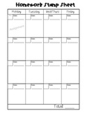 Homework Stamp Sheet