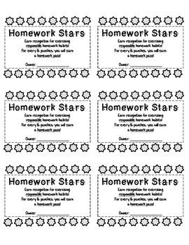 Homework Stars 16-Punch Card (Incentive)