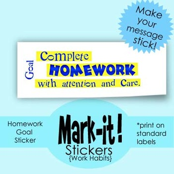 Printable Homework Sticker: Help with Classroom Management, Print on Labels