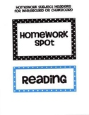 Homework Subject Labels for Whiteboards and Chalkboards