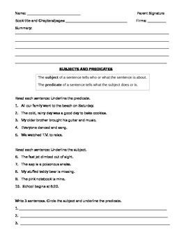 Homework Subject and Predicate 1