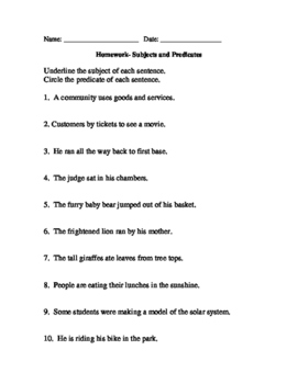 Homework-Subject and Predicate
