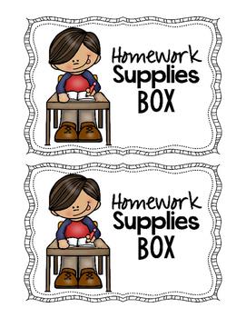 Homework Supplies Labels