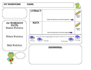 Homework Template: FROG theme